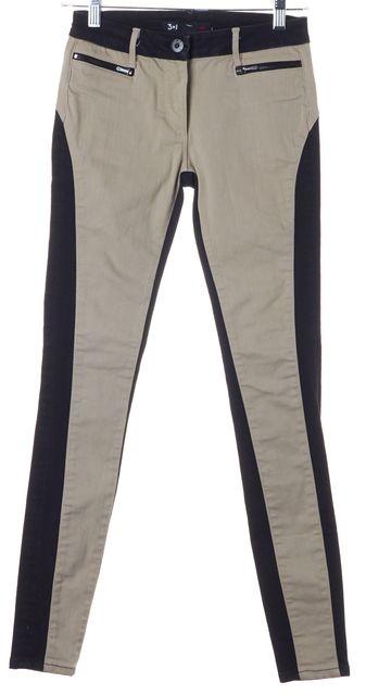 3X1 Sand Brown Black Color Block Stretch Cotton Skinny Jeans