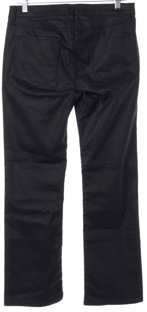 3X1 Jet Black Coated Stretch Cotton Crop Boot Cut Jeans