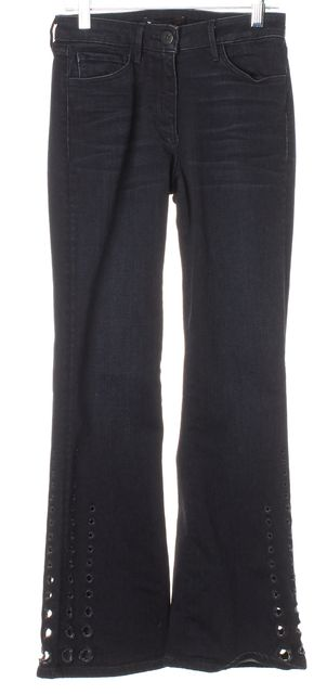 3X1 Lucca Blue Sheer Eyelet Trim Cropped Flare Jeans