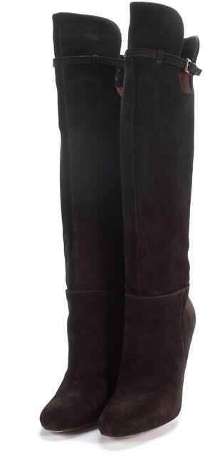 JOAN & DAVID Chocolate Brown Suede Dameranda Over Knee Heel Boots