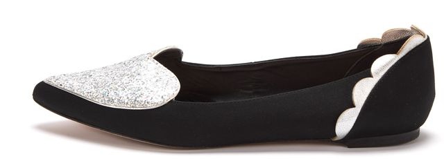 ISA TAPIA Black Satin Silver Clement Glitter Heart Pointed Toe Flats