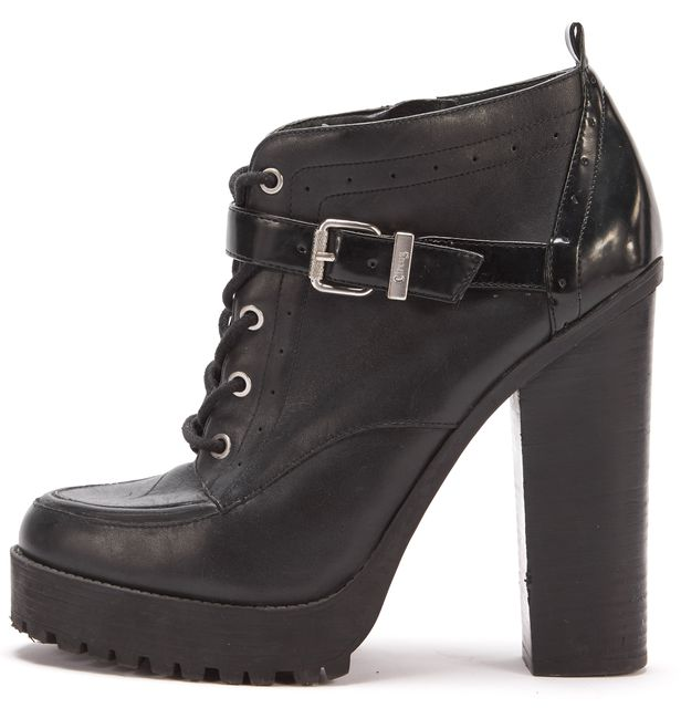 CIRCUS BY SAM EDELMAN Black Leather Whitley Platform Ankle Boots Booties