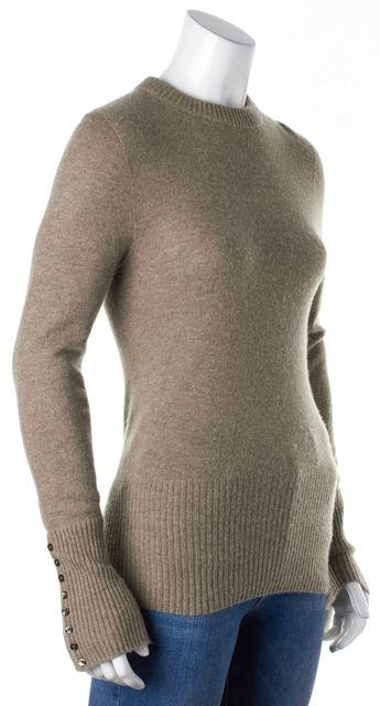 AGNONA Beige Cashmere Knit Button Sleeves Crewneck Sweater