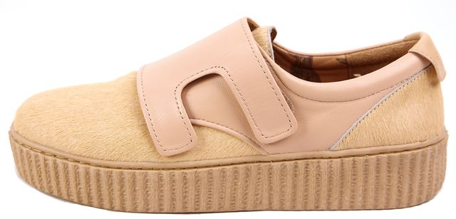 AUSTRALIA LUXE COLLECTION Beige Pony Hair Leather Strap Platform Sneakers