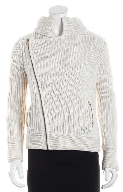 525 AMERICA Cream White Gold Zip Detail Open Knit Cardigan Sweater