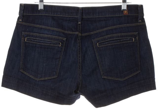 7 FOR ALL MANKIND Blue Dark Wash Denim Shorts