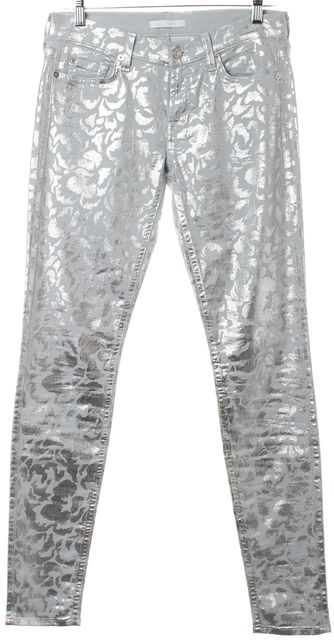 7 FOR ALL MANKIND Light Gray Silver Abstract Print Skinny Jeans