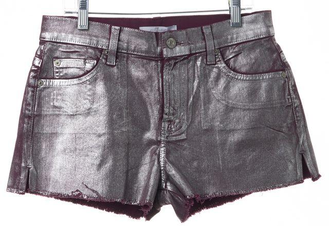 7 FOR ALL MANKIND Purple Silver Coated Metallic Mini Denim Shorts
