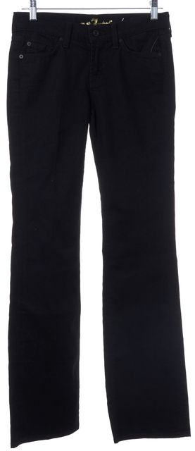 7 FOR ALL MANKIND Black Boot Cut Cotton Blend Mid-Rise Jeans
