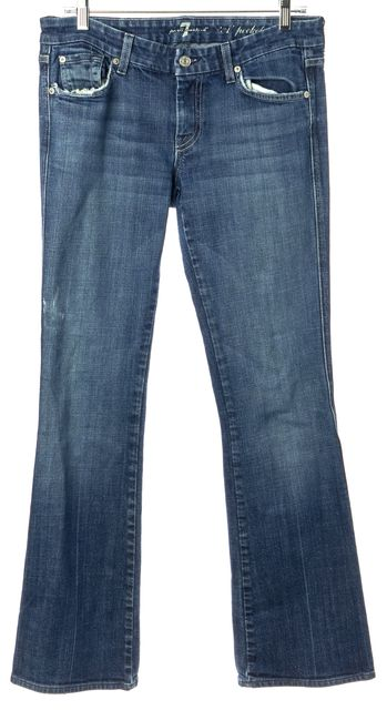 7 FOR ALL MANKIND Blue Distressed Cotton Denim Flare Leg Jeans