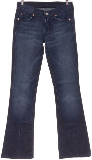 7 FOR ALL MANKIND Blue Boot Cut Medium Wash Stretch Cotton Jeans
