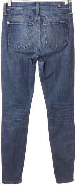 7 FOR ALL MANKIND Blue Skinny Slim Fit Distressed Casual Jeans