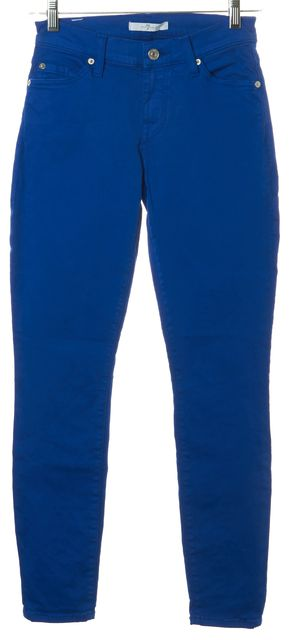 7 FOR ALL MANKIND Royal Blue Stretch Cotton Mid-Rise Skinny Jeans