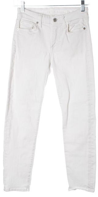 7 FOR ALL MANKIND White Stretch Denim Kimmie Crop Skinny Cropped Jeans