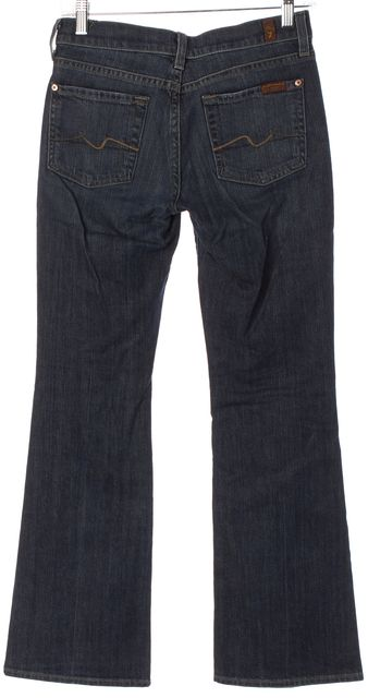 7 FOR ALL MANKIND Blue Medium Wash Mid-Rise Boot Cut Jeans