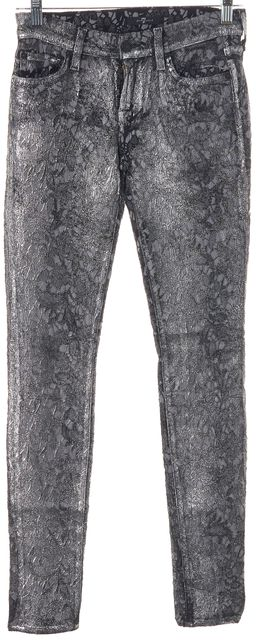 7 FOR ALL MANKIND Silver Floral Sequin Skinny Casual Pants