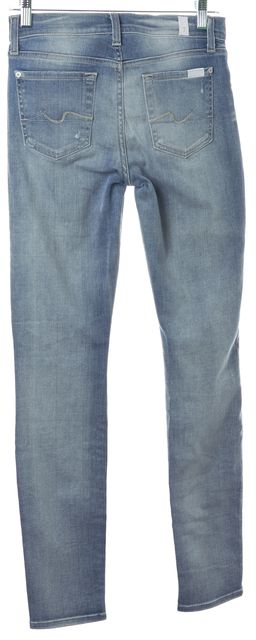 7 FOR ALL MANKIND Blue Light Wash Distressed Gwenevere Skinny Jeans
