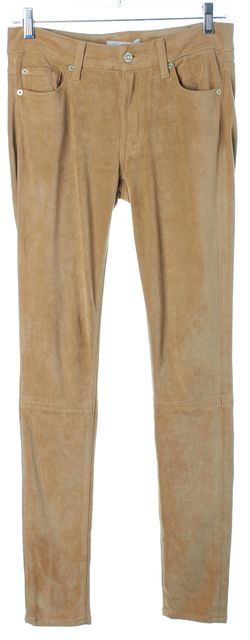 7 FOR ALL MANKIND Beige Faux Suede Leather Skinny Leggings Pants