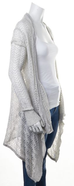 7 FOR ALL MANKIND Light Gray Cotton Cashmere Sheer Open Knit Cardigan