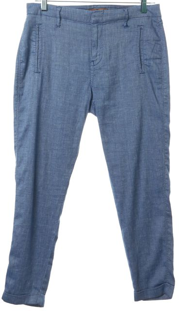 7 FOR ALL MANKIND Blue Linen Cropped Casual Pants