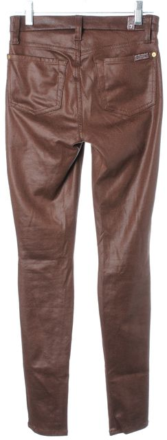 7 FOR ALL MANKIND Brown Faux Leather Super Skinny Leggings Jeans