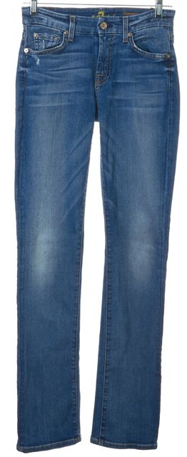 7 FOR ALL MANKIND Blue Kimmie Medium Wash Straight Leg Jeans