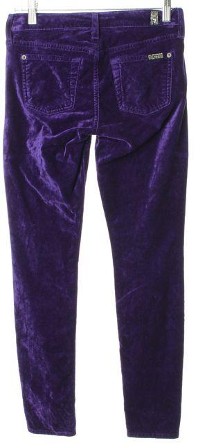 7 FOR ALL MANKIND Purple Velvet Stretch Skinny Jeans