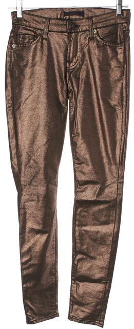 7 FOR ALL MANKIND Bronze Coated Stretch Cotton Skinny Jeans