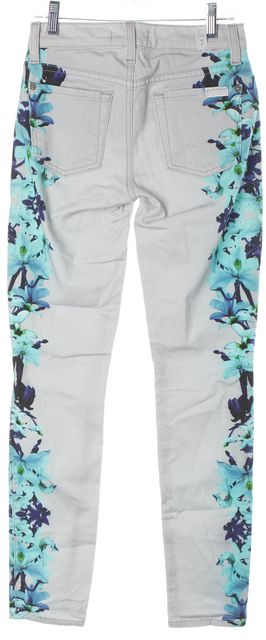 7 FOR ALL MANKIND Gray Floral Skinny Jeans