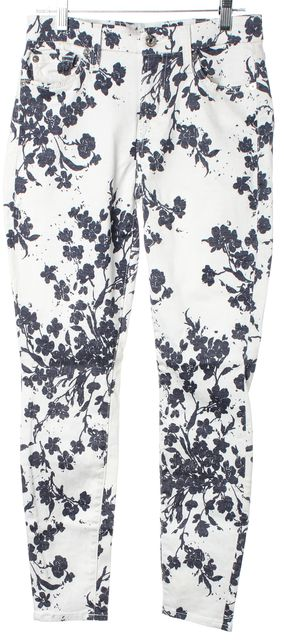 7 FOR ALL MANKIND White Blue Floral Print Mid-Rise Skinny Jeans
