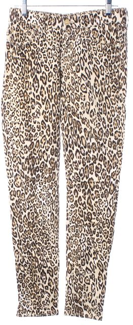 7 FOR ALL MANKIND Beige Brown Leopard Print Mid-Rise Skinny Jeans