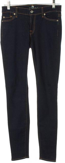 7 FOR ALL MANKIND Blue Dark Wash Denim Contrast Stitch Skinny Jeans