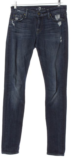 7 FOR ALL MANKIND Blue Distressed Roxanne Mid-Rise Skinny Jeans