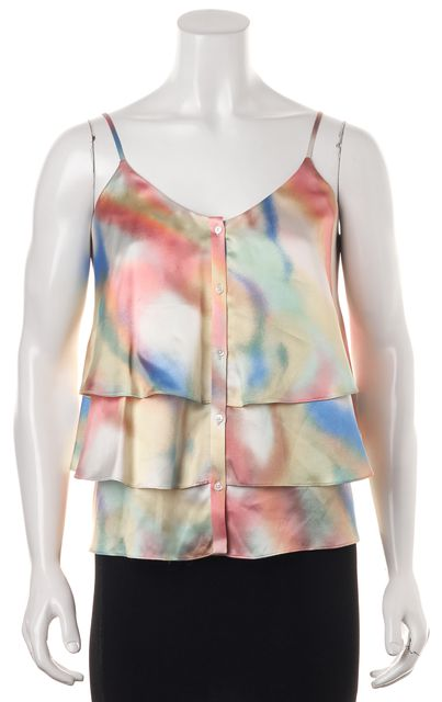 7 FOR ALL MANKIND Pink Yellow Watercolor Silk Tiered Blouse