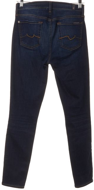 7 FOR ALL MANKIND Blue Distressed Ankle Gwenevere Skinny Jeans