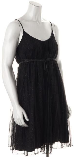 7 FOR ALL MANKIND Black Paint Splatter Tulle Overlay Empire Waist Dress