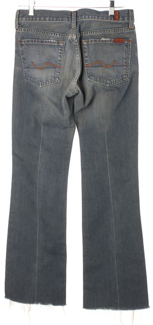 7 FOR ALL MANKIND Blue Cotton Denim Distressed Frayed Hem Boot Cut Jeans