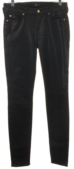 7 FOR ALL MANKIND Black Coated Denim Skinny Jeans