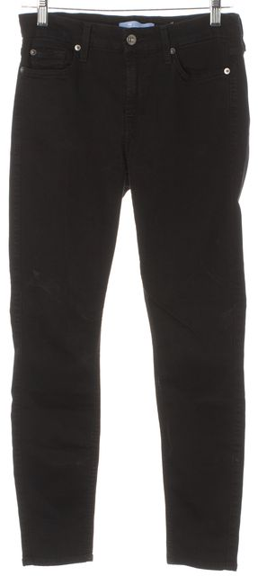 7 FOR ALL MANKIND Black Soft Stretch Denim The Ankle Skinny Jeans