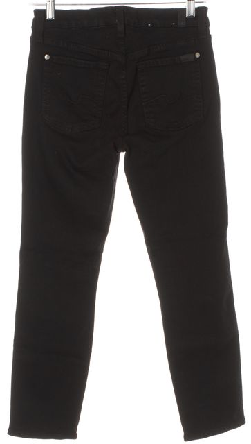 7 FOR ALL MANKIND Black Kimmie Crop Skinny Cropped Jeans