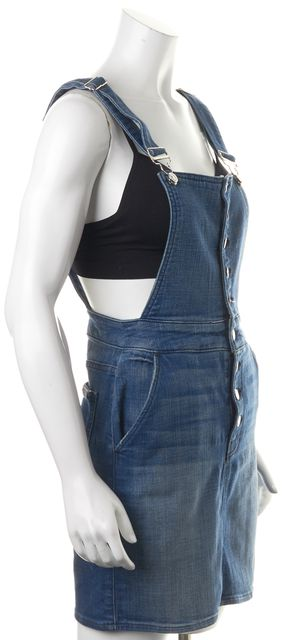 7 FOR ALL MANKIND Blue Button Front Relaxed Skirt Overall
