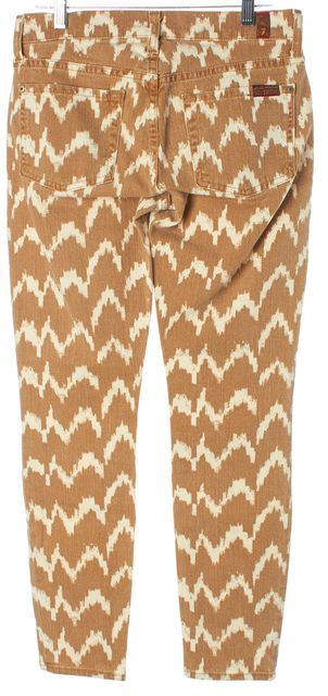 7 FOR ALL MANKIND Brown Beige Zig-Zag Print Cropped Skinny Jeans