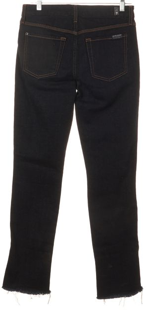 7 FOR ALL MANKIND Blue Skinny Slim Fit Frayed Bottom Mid-Rise Jeans
