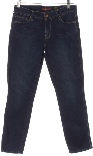 7 FOR ALL MANKIND Blue Medium Wash Slim Straight Cropped Jeans