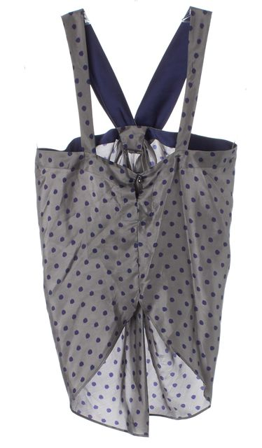 7 FOR ALL MANKIND Gray Blue Polka Dot Silk Hi-Lo Halter Top