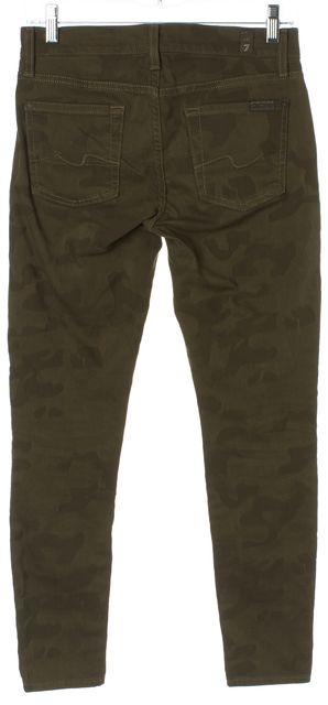 7 FOR ALL MANKIND Green Camo Printed Cropped Gwenevere Skinny Jeans