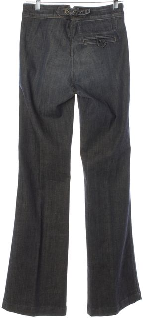 7 FOR ALL MANKIND Blue High Rise Button Up Wide Leg Flare Jeans