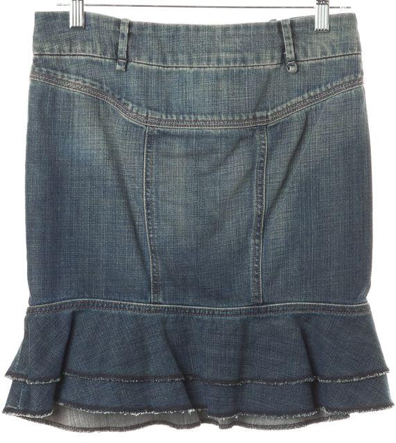 7 FOR ALL MANKIND Blue Cotton Pocket Front Denim Flounce Skirt