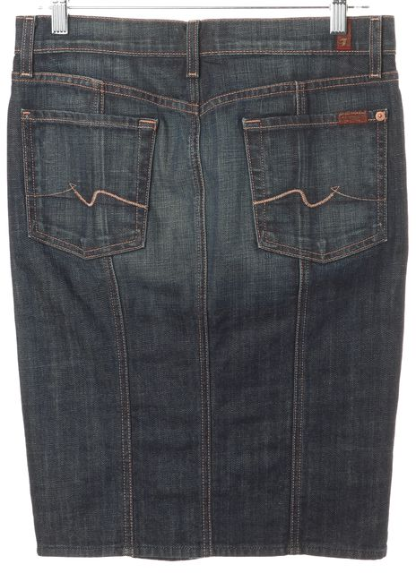 7 FOR ALL MANKIND Blue Stretch Cotton Button Front Denim Straight Skirt