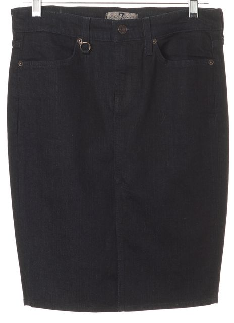 7 FOR ALL MANKIND Blue Dark Wash Above Knee Denim Straight Skirt